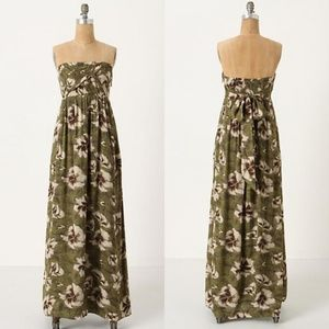 Anthropologie Cultivated Green Floral Maxi Dress
